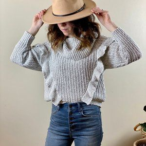 Express Cropped Cowl Neck Sweater w/ Ruffle Detail